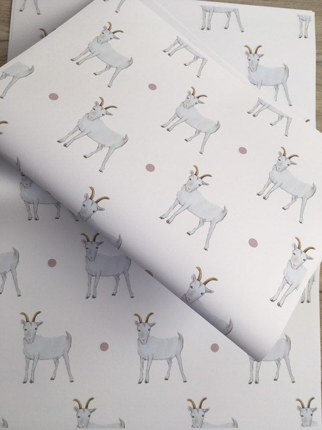 Goat wrapping paper , gift wrap, FOR SMALLER GIFTS