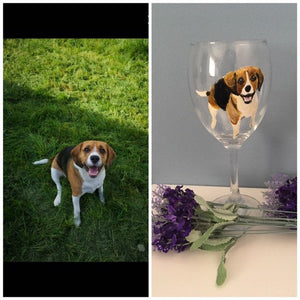Pet portrait, wine glass