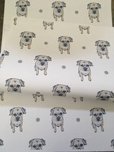 Load image into Gallery viewer, Border terrier , wrapping paper, gift wrap, for border terrier lovers, for dog owners, for dog lovers, read description FOR SMALLER GIFTS