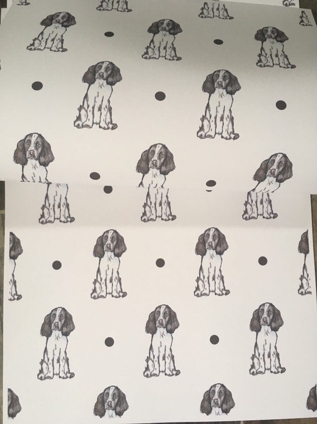 Springer spaniel , spaniel, wrapping paper , gift wrap, for dog lovers, for springer spaniel owners, read description FOR SMALLER GIFTS