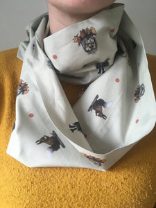 Woodland animal, scarf, cotton scarf, infinity scarf, loop scarf