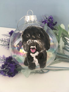 Pet portrait, bauble, tree decoration, pet memorial bauble, for pet lovers, for pet owners, dog gift, cat gift
