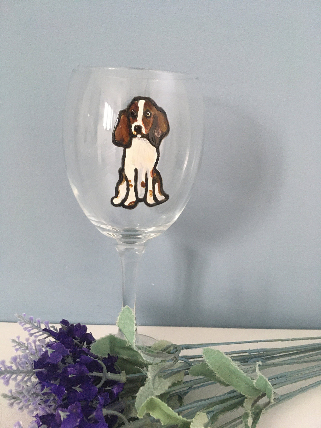 Springer spaniel, wine glass, gin glass, gift idea