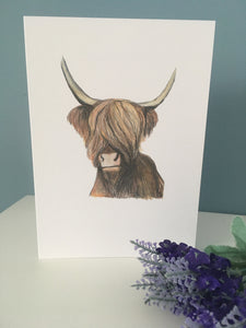 Highland cow, card, blank card, greetings card, for cow lovers, hairy cow card, highland cow gift
