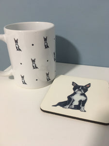 Boston terrier, mug, mug and coaster set