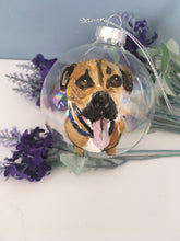 Load image into Gallery viewer, Pet portrait, bauble, tree decoration, pet memorial bauble, for pet lovers, for pet owners, dog gift, cat gift