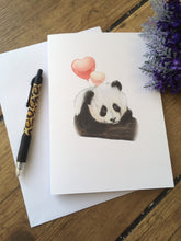 Load image into Gallery viewer, Panda valentines card, greetings card