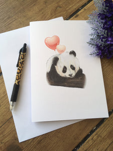 Panda valentines card, greetings card