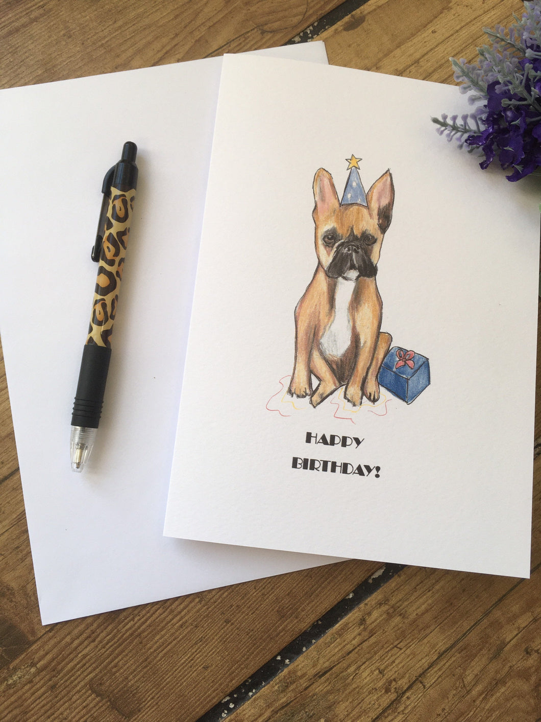 french bulldog, birthday card, greetings card