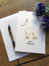 Load image into Gallery viewer, Alpaca birthday card. greetings card.
