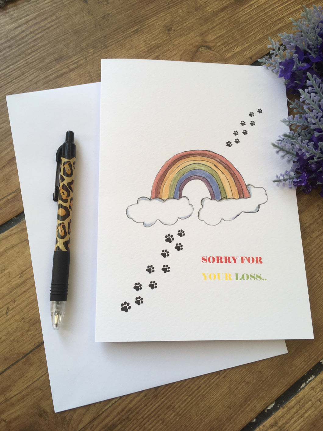 Sorry for your loss, pet loss card,  sympathy card, rainbow card