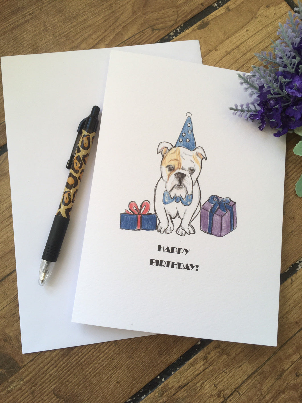 English bulldog card, birthday card, british bulldog, for british bulldog lovers, british bulldog gift