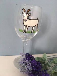 Goat, wine glass, gin glass, for goat lovers , goat gift, for gin drinkers, for wine drinkers
