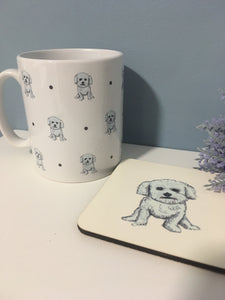 Bichon frise, mug, mug and coaster set, for bichon frise lovers, bichon Frise gift