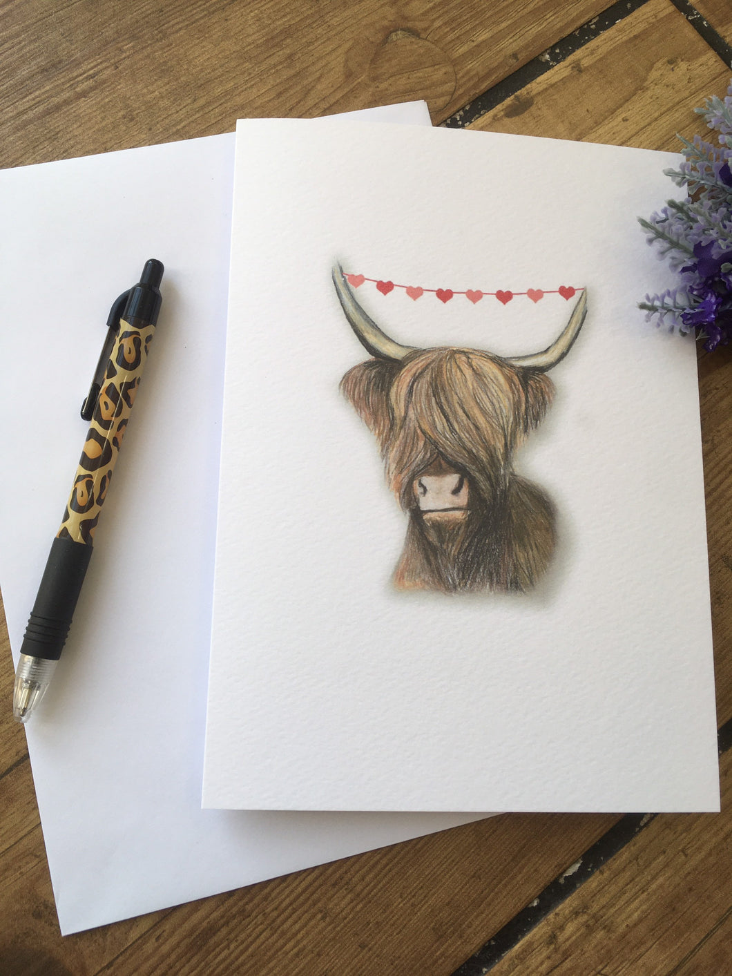 Highland cow,  hairy cow, greetings card,valentines card