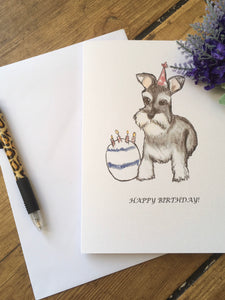Schnauzer birthday card, greetings card