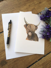 Load image into Gallery viewer, Highland cow, card, blank card, greetings card, for cow lovers, hairy cow card, highland cow gift