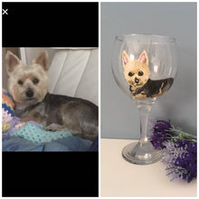 Load image into Gallery viewer, Pet portrait, glass, gin glass, for pet lovers, for gin lovers, gin gift, pet gift, cat glass, dog glass, animal glass