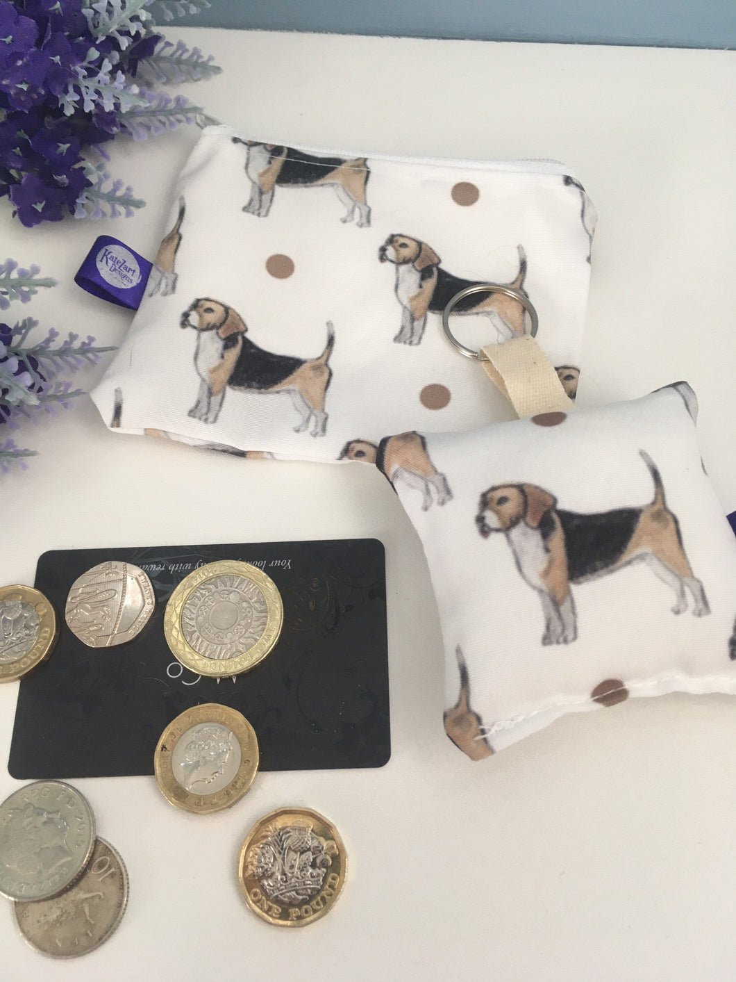 Beagle purse and keyring set, gift set, stocking filler