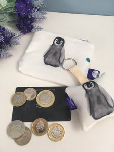 Penguin, baby penguin, purse and keyring, gift set