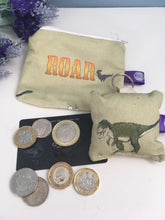 Load image into Gallery viewer, Dinosaur purse and keyring gift set