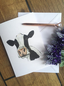 Cow, black and white cow, dairy cow, card, greetings card, for cow lovers, cow gift idea