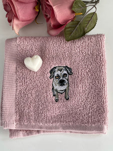 Border terrier face cloth, wash cloth, flannel, gift set, border terrier gift idea