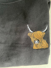 Load image into Gallery viewer, Highland cow sweatshirt, ladies sweatshirt, highland cow gift idea