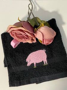 Pig flannel, face cloth, wash cloth , gift set, pig gift idea