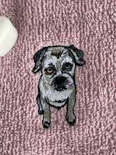 Load image into Gallery viewer, Border terrier face cloth, wash cloth, flannel, gift set, border terrier gift idea