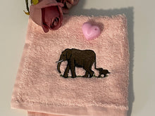 Load image into Gallery viewer, Elephant, face cloth, wash cloth, flannel, gift set, elephant gift idea