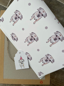 Border terrier , wrapping paper, gift wrap , FOR SMALLER GIFTS
