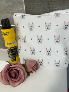 Westie, west highland terrier, makeup bag, cosmetics bag, wash bag