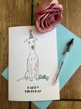 Load image into Gallery viewer, Whippet card, birthday card, greetings card