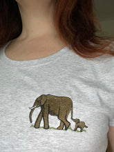 Load image into Gallery viewer, Ladies elephant T-shirt, embroidered T-shirt, elephant gift idea