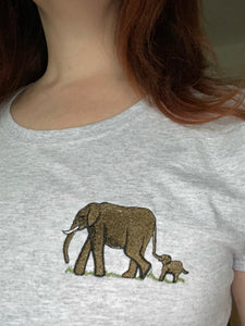 Ladies elephant T-shirt, embroidered T-shirt, elephant gift idea