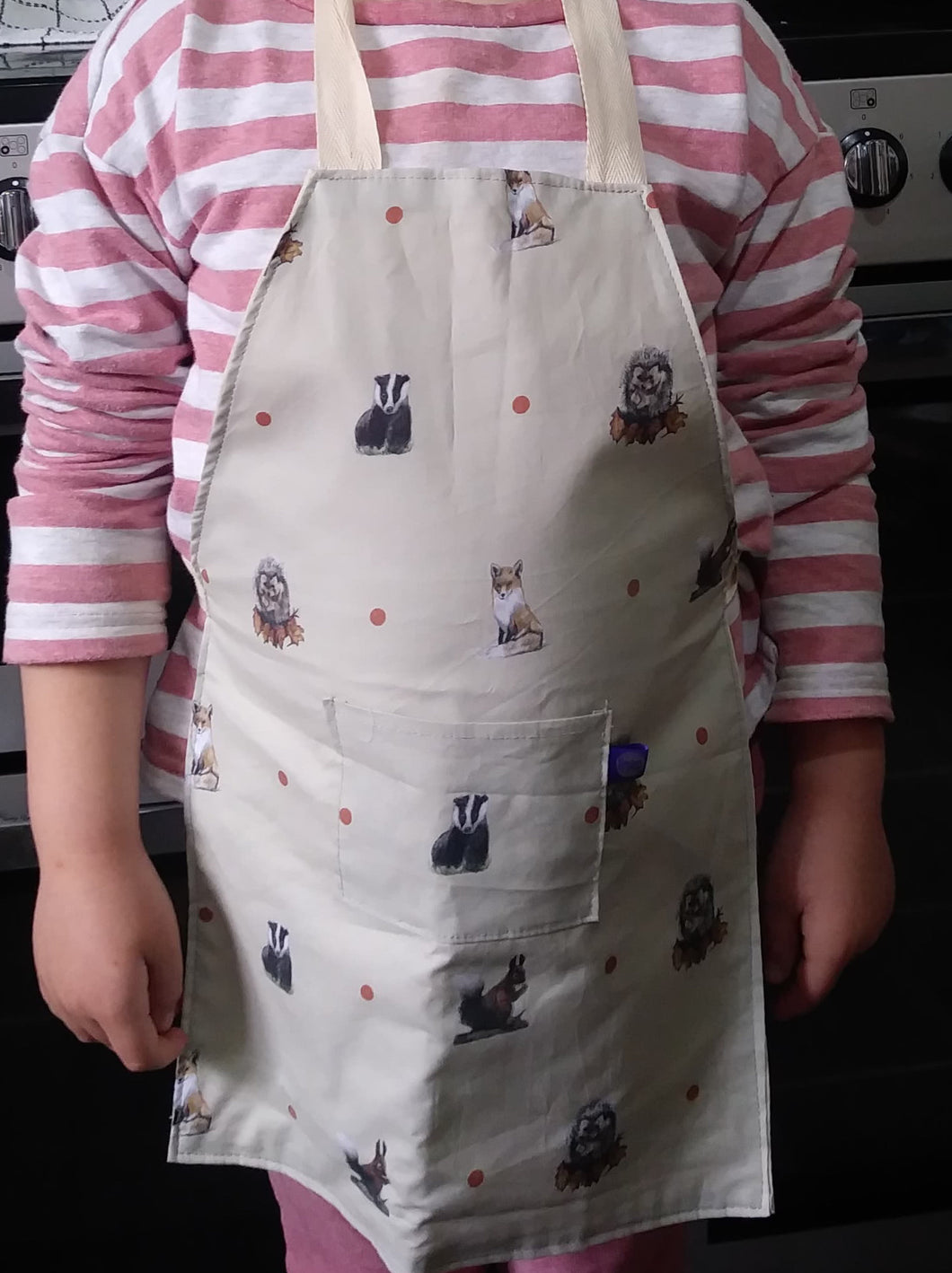 Woodland animal apron, kids apron, kids pinny, for woodland animal lovers, woodland animal gift
