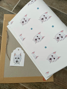 Westie ,west highland terrier, wrapping paper, gift wrap, FOR SMALLER GIFTS