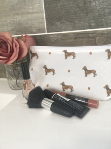 Sausage dog, daschund, makeup bag, Cosmetics bag, for sausage dog lovers, sausage dog gift