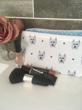 Load image into Gallery viewer, Westie, west highland terrier, makeup bag, cosmetics bag, wash bag