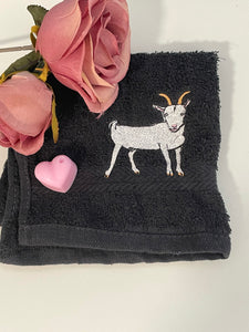 Goat, flannel, facecloth, wash cloth, gift idea