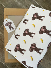 Load image into Gallery viewer, Monkey ,chimpanzee, wrapping paper, gift wrap,  FOR SMALLER GIFTS
