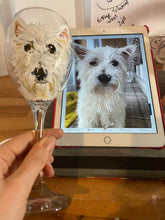 Load image into Gallery viewer, Pet portrait, wine glass, custom painted glass