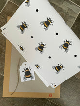 Load image into Gallery viewer, Bumble bee wrapping paper ,gift wrap, read description FOR SMALLER GIFTS