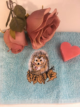 Load image into Gallery viewer, Hedgehog, flannel, wash cloth, face cloth, gift set