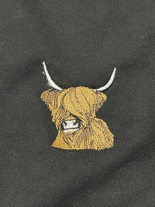 Highland cow, hairy cow,  ladies t shirt, embroidered T-shirt