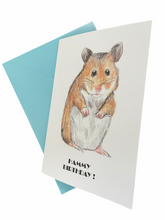 Load image into Gallery viewer, Hamster birthday card, hammy birthday, greetings card