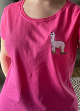 Load image into Gallery viewer, Ladies alpaca T-shirt, embroidered T-shirt, cotton T-shirt, alpaca gift idea