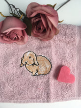 Load image into Gallery viewer, Rabbit, bunny rabbit, flannel, face cloth, wash cloth, for rabbit lovers, rabbit gift idea