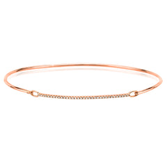 Gold and diamond bar hook bangle